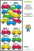 vizuální logický hlavolam s barevnými autíčka