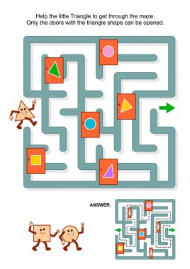 Maze game with triangle and marked doors