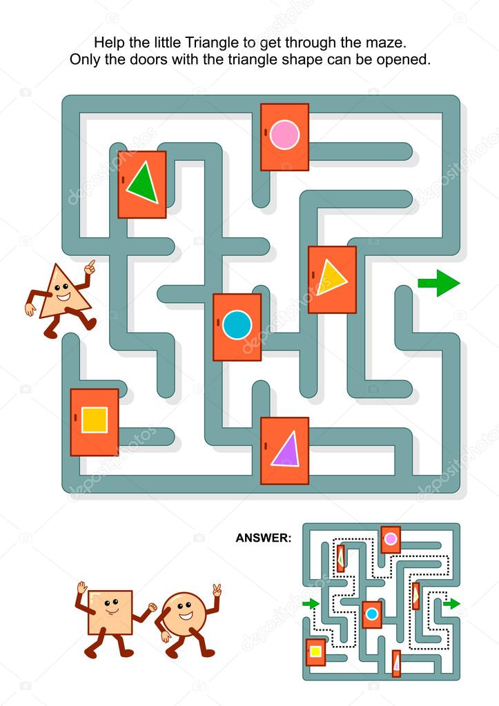 Juego de laberinto con triángulo y puertas marcadas — Vector de ...