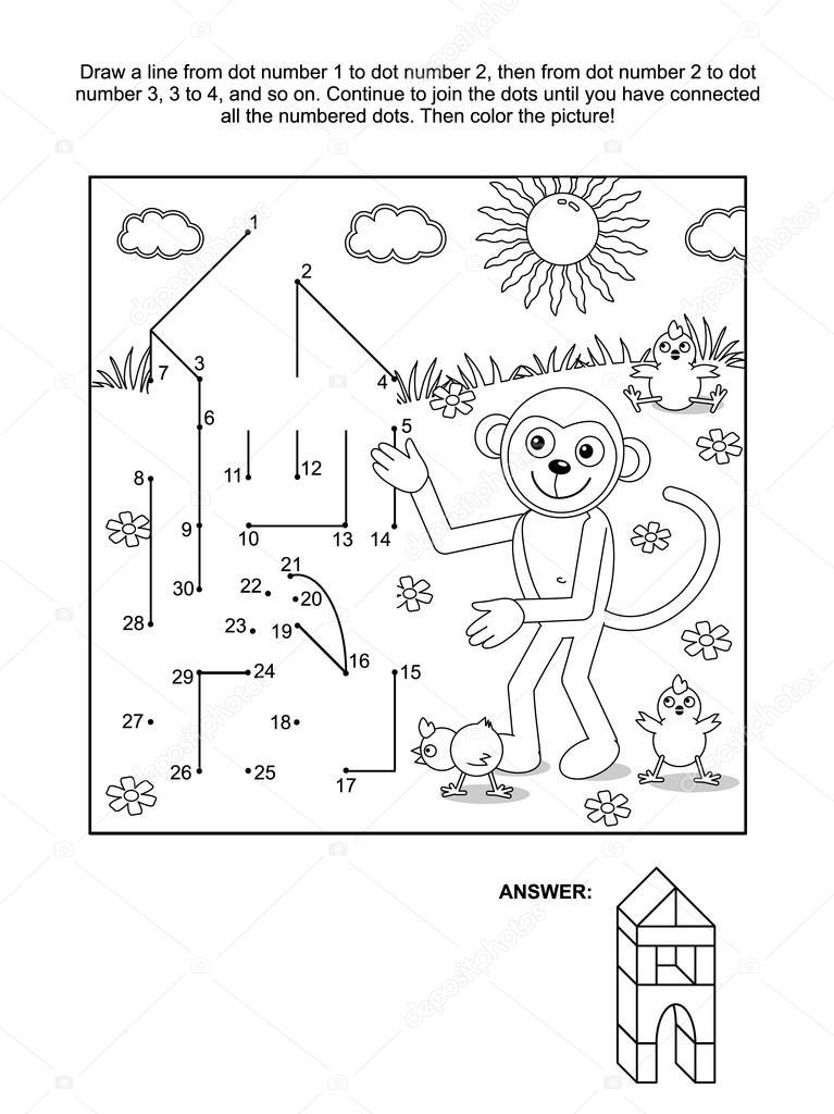 Punto a punto y página para colorear - el constructor del mono ...