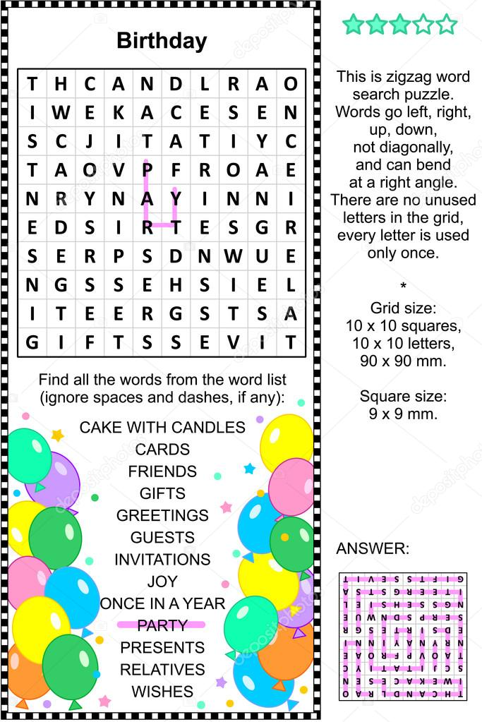 Top Verjaardag wordsearch puzzel — Stockvector © ratselmeister #83470704 #WK38