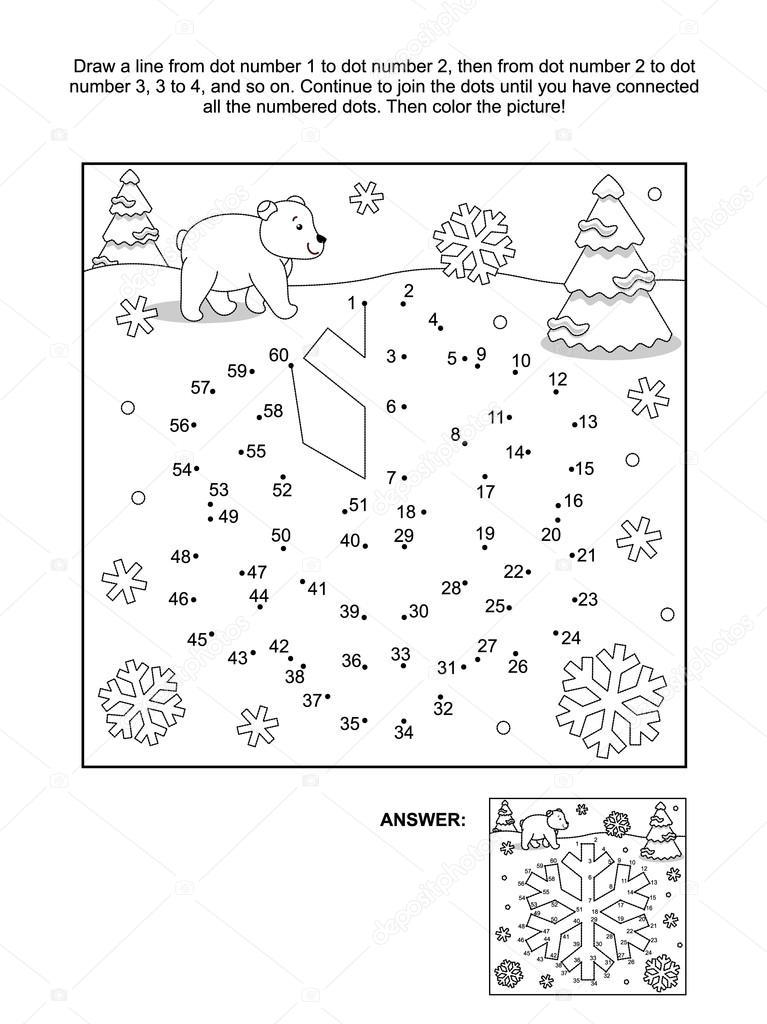 Punto a punto y página para colorear - copo de nieve — Archivo ...