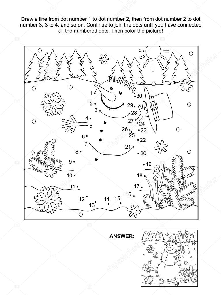 Punto a punto y página para colorear - muñeco de nieve — Vector de ...