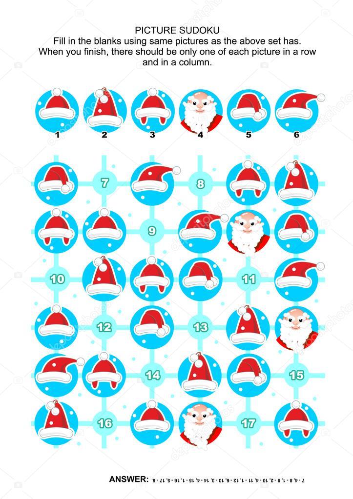 Bild-Sudoku-Rätsel, Weihnachts- oder Themen — Stockvektor ...