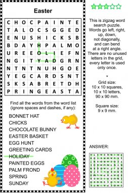 Easter themed wordsearch puzzle