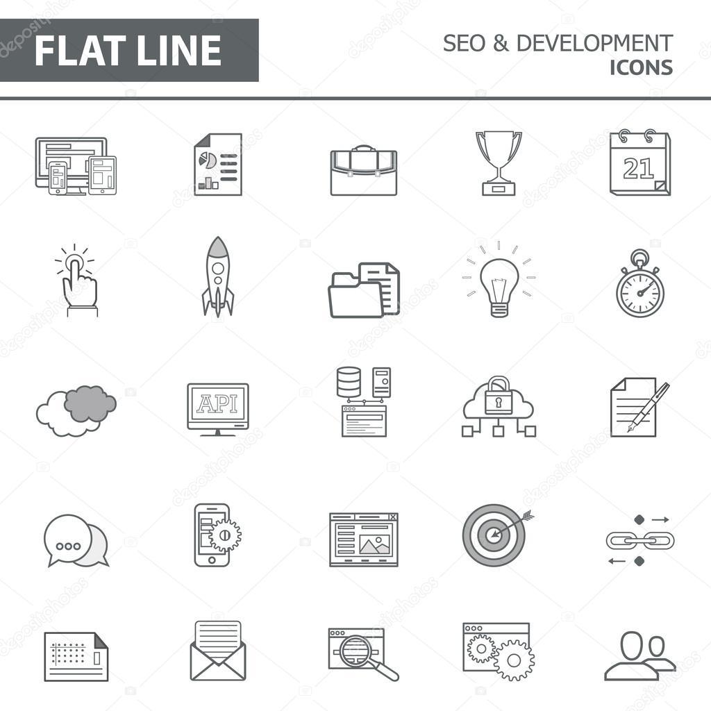 fbd9ebd971 Insieme delle icone di linea semplice moderna nel design piatto. Alla moda  seo e sviluppo concetto elementi infographic per banner, layout, ...