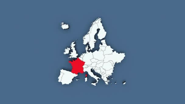 Europe map with blinking countries and zoom effect - 3D rendering