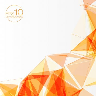 3D Orange Abstract Mesh Background with Circles