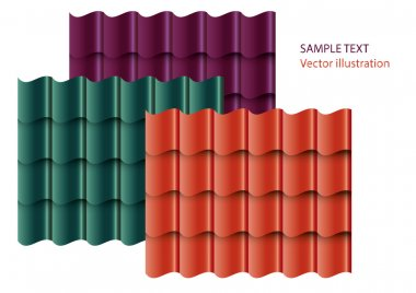 Corrugated tile element of roof. Seamless pattern. Vector illustration