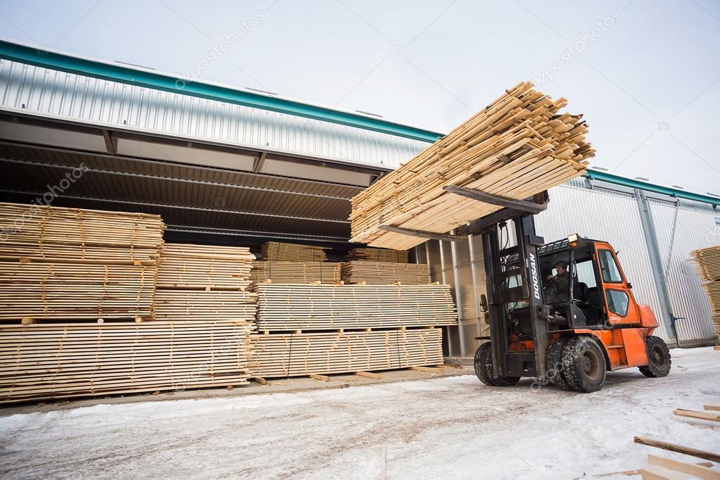 folk lift truck in wood factory
