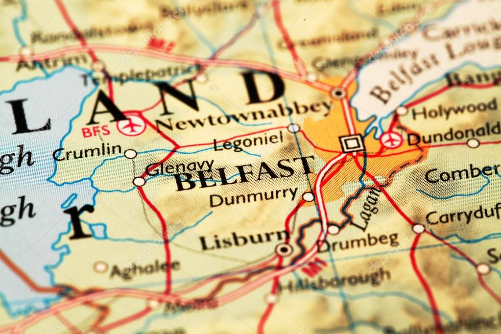 Belfast on map stock photo janaka 56243851 belfast ireland on atlas world map photo by janaka gumiabroncs Images