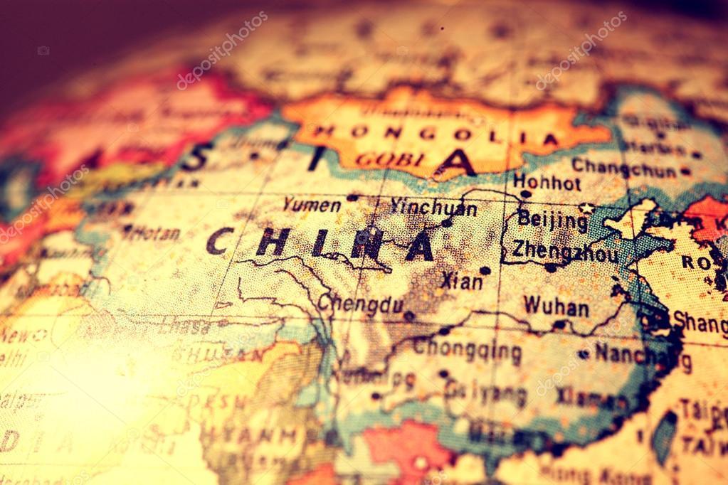 China mapa foto de stock janaka 56287387 china on atlas world map foto de janaka gumiabroncs Image collections