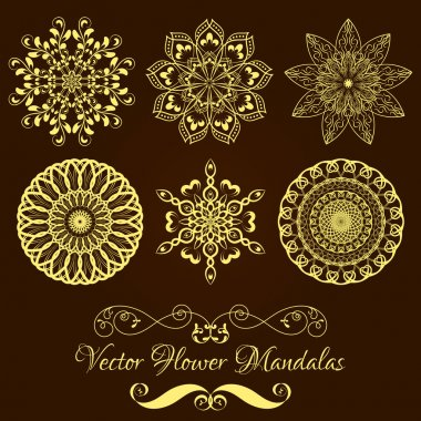 Set from Vector Gold Floral Mandala over dark brown