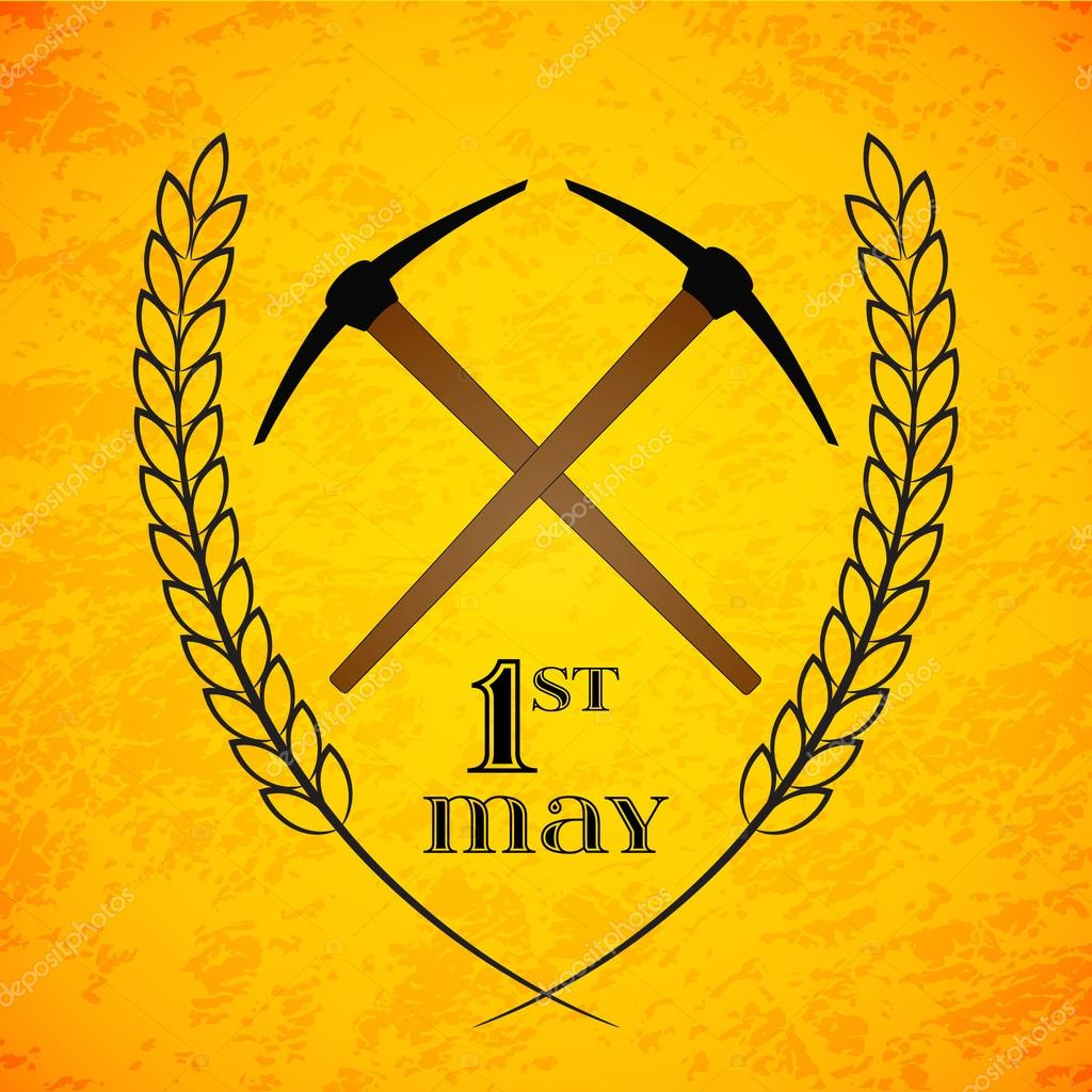 may 1st labor day crossed pickaxes symbol of work and labor