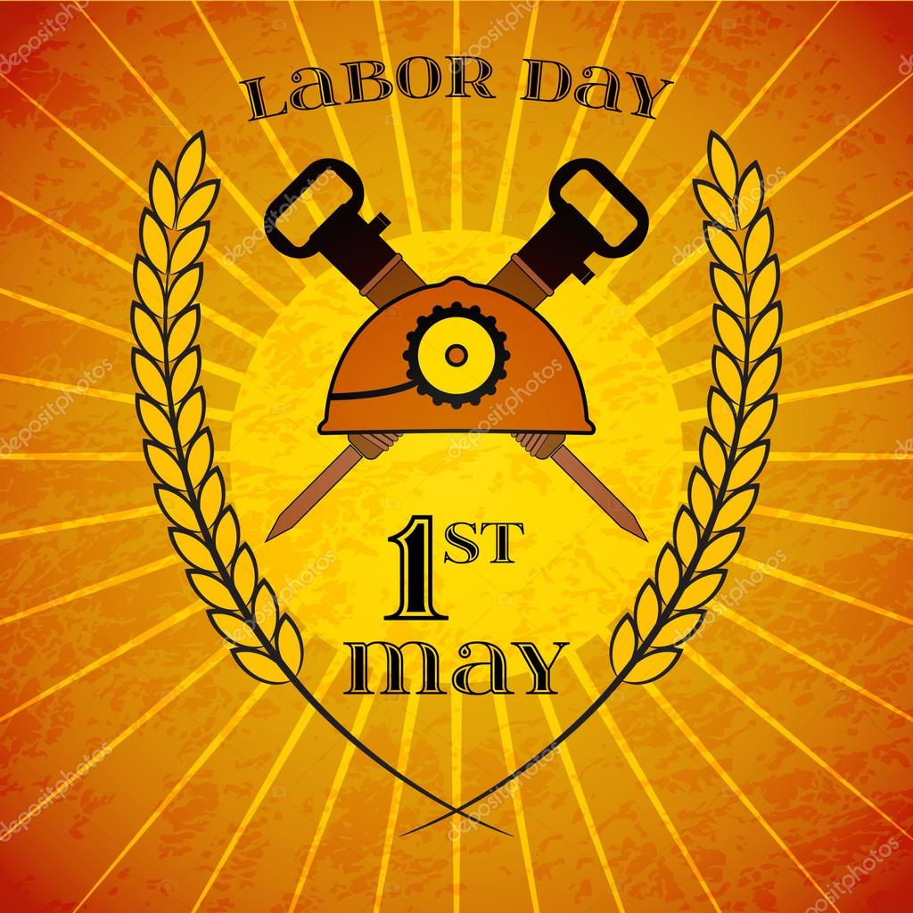 May 1st. Labor Day. Helmet and hammers wheat ears