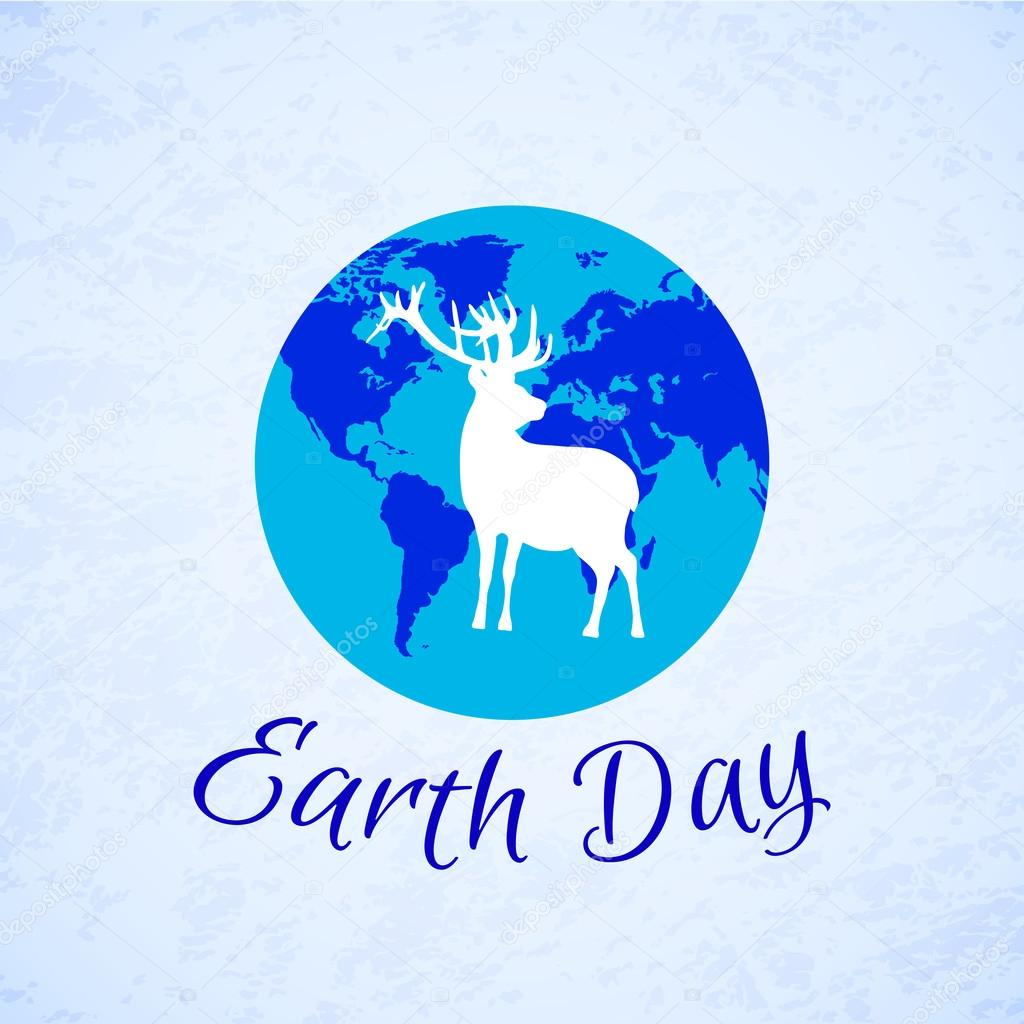 Silhouette of deer over planet Earth. Earth Day