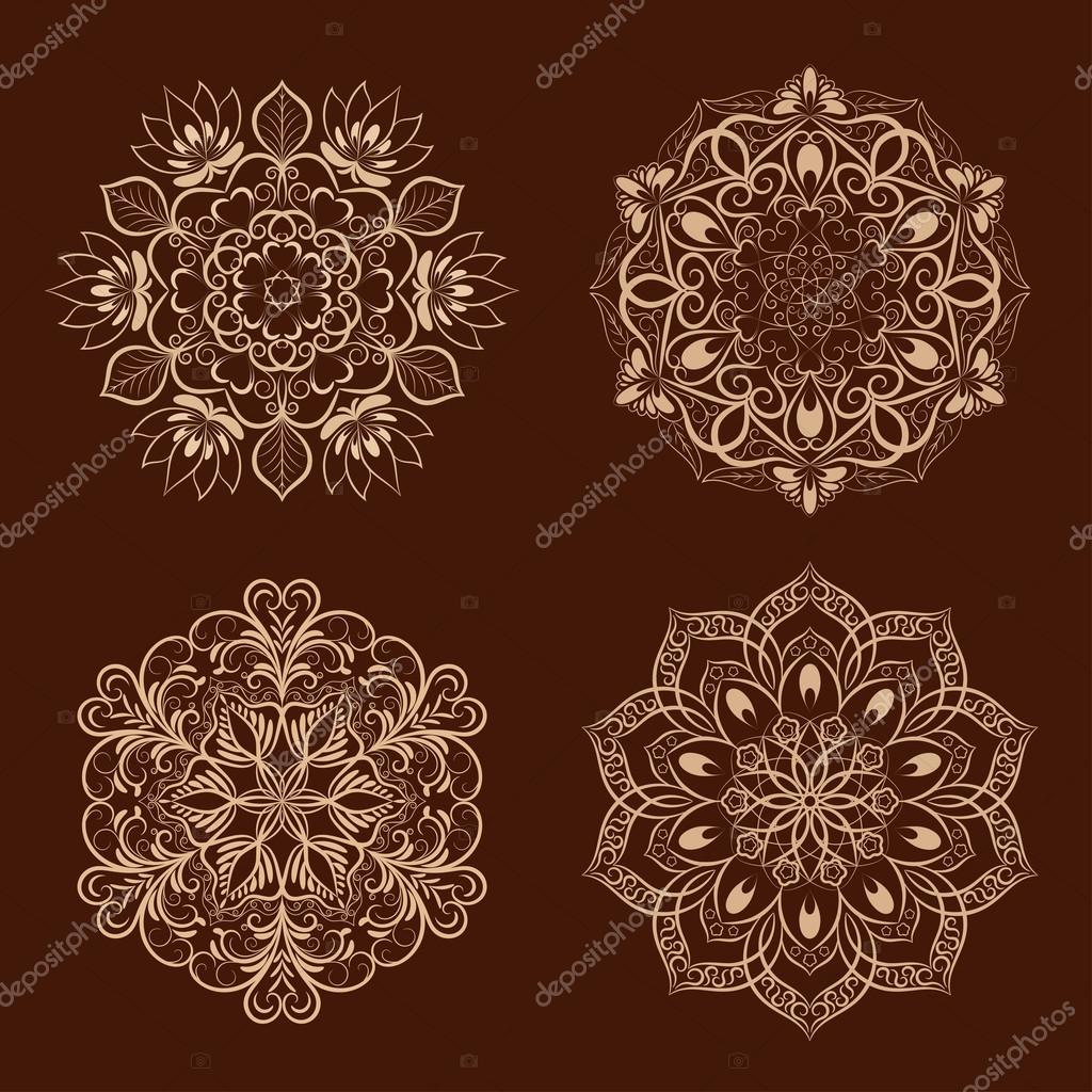 Set From Vector Coffee Color Flower Mandala Over Dark Brown Elements For Your Designs Invitation Card Yoga Meditation Astrology And Other Projects