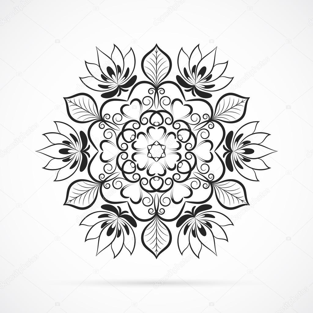 Vector Mandala De Couleur Noir Sur Blanc Image Vectorielle Mcandy