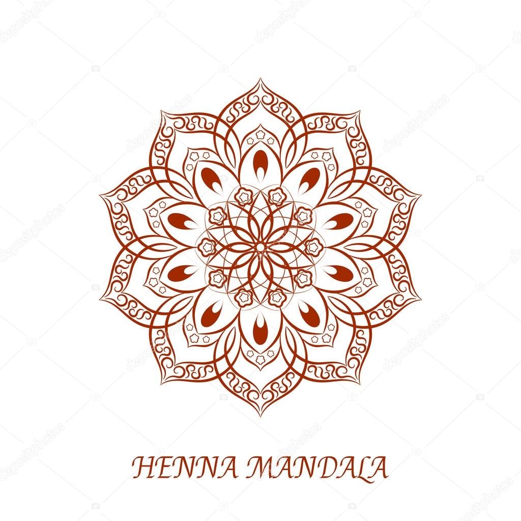 Vector Henna Color Mandala Over White Stock Vector C Mcandy 116583124