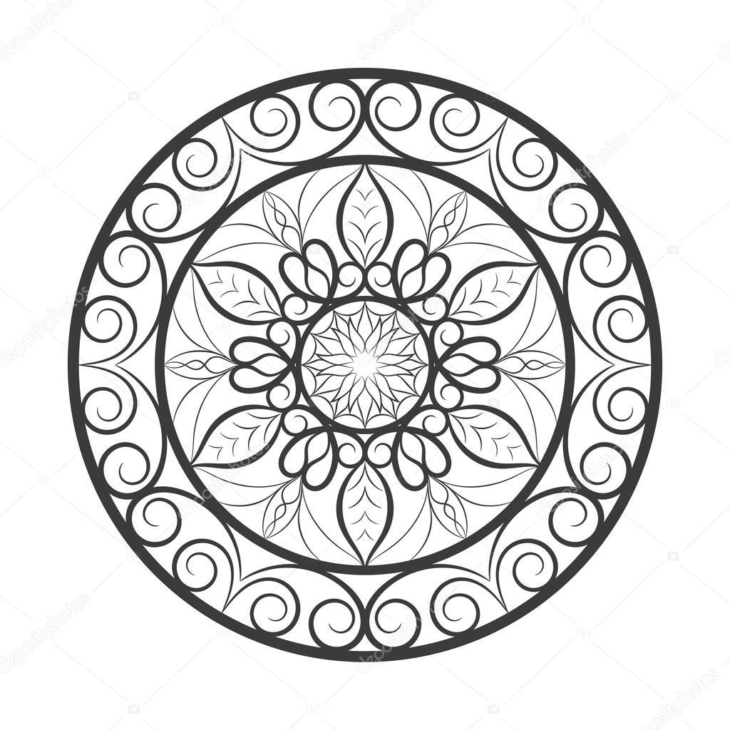 Mandala de flores sobre blanco — Vector de stock © McAndy #117600898