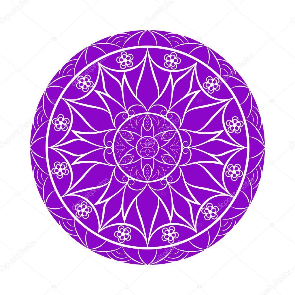 Mandala de flores de Color Violeta de vector sobre blanco Archivo