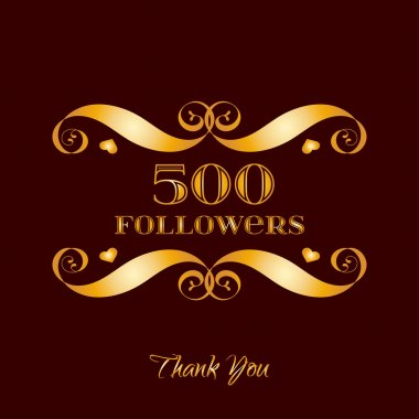 Vector gold 500 followers badge over brown