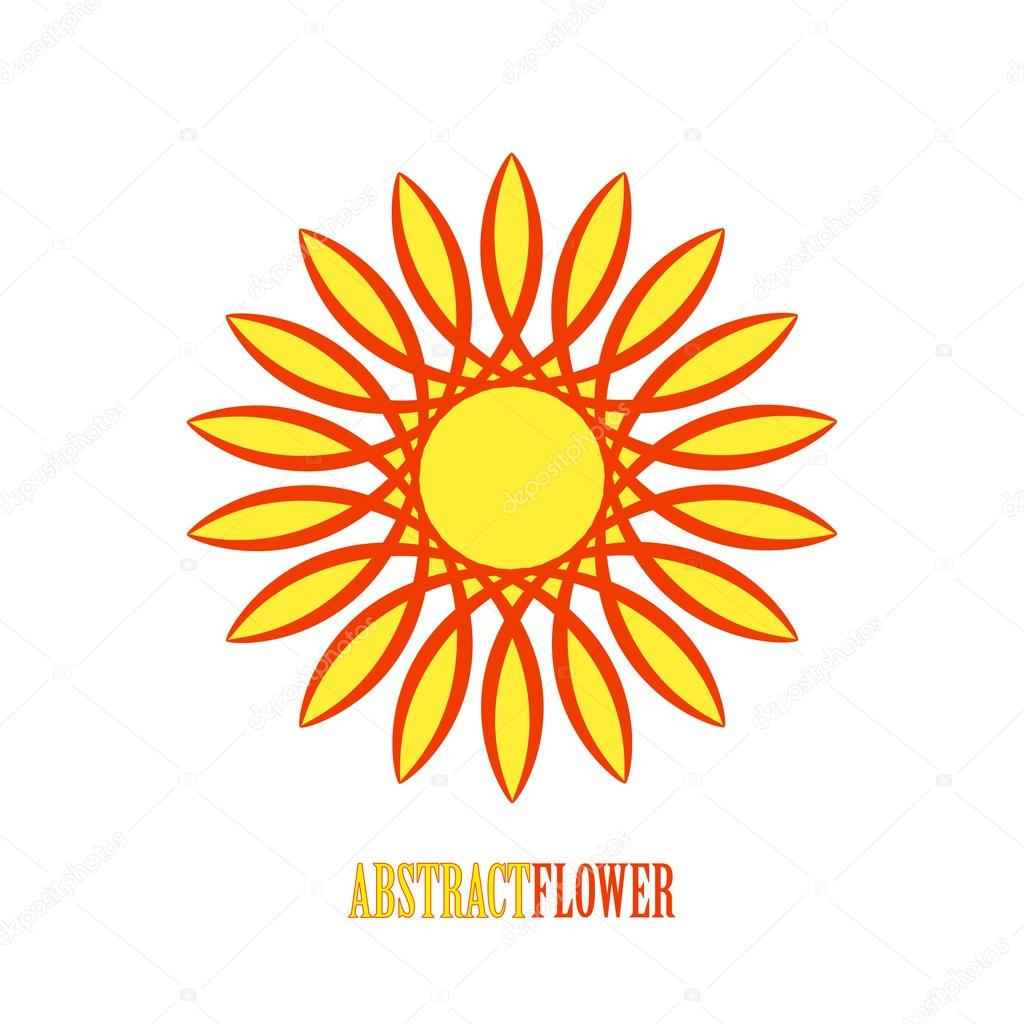 Vector Abstract Yellow Flower Mandala Icon Over White Stock Vector