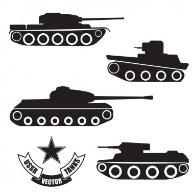 Vector silhouettes of old Soviet tanks