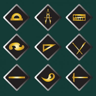 Set vector gold icons of drawing accessories