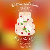 Fényképek Esküvői torta, a krém Rózsa felett színes homályos vektor háttér