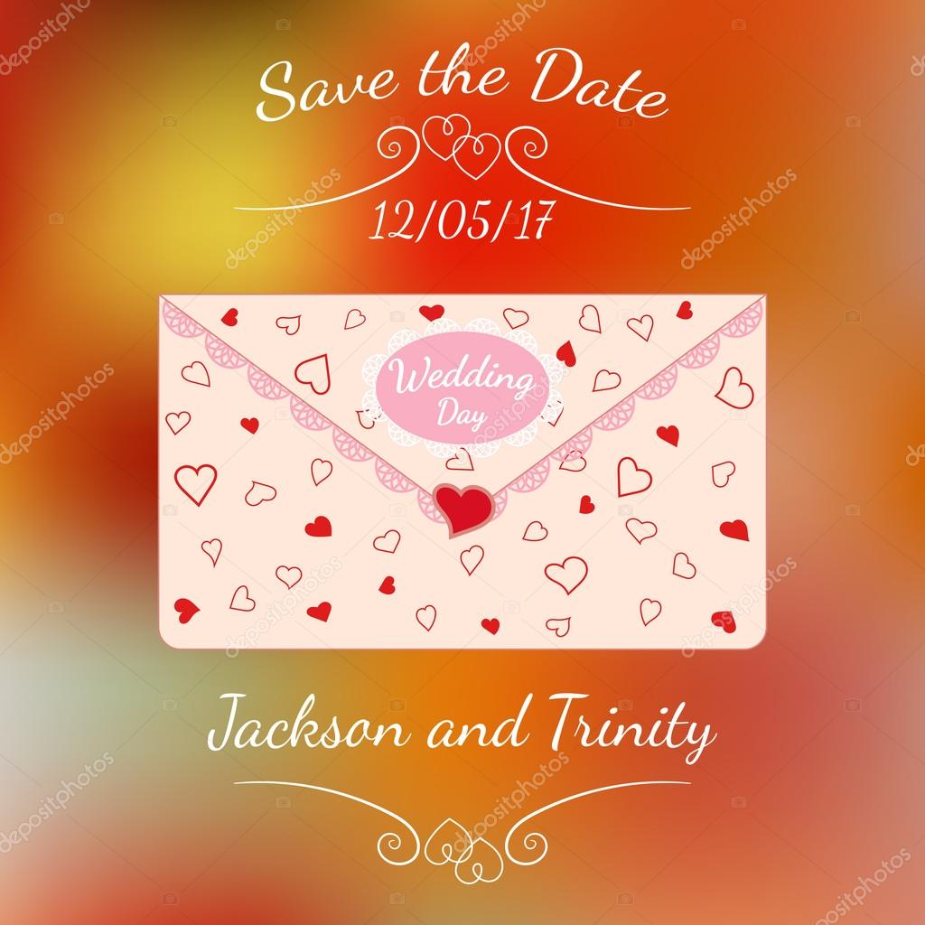 Wedding Letter With Lace And Texture Of Hearts Over Colorful Blurred