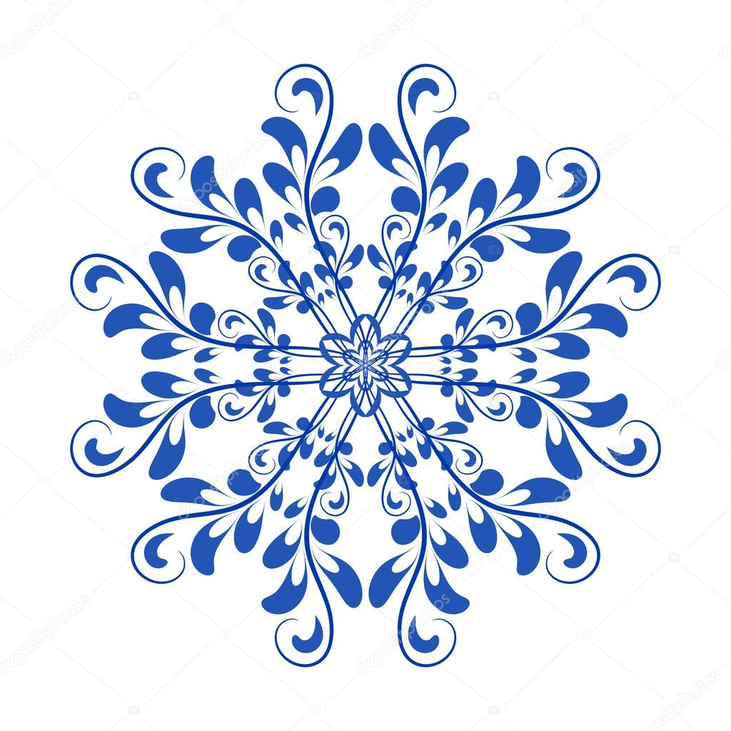 Blue vector floral Russian national ornament in style Gzhel — Stock