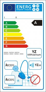 Vacuum cleaners for carpet new energy rating graph label clip art vector