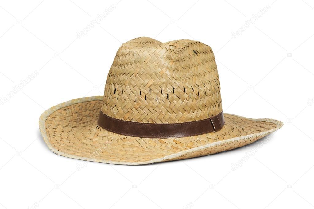 Slaměný klobouk kovboj — Stock fotografie. Men s straw cowboy hat isolated  on white with clipping path — Fotografie od ... f48824e63b