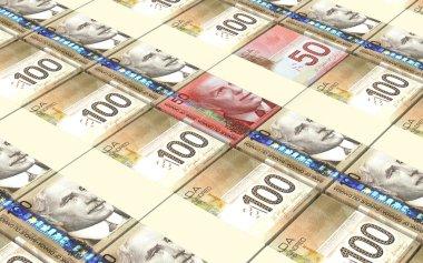 Canadian dollar bills stacks background.