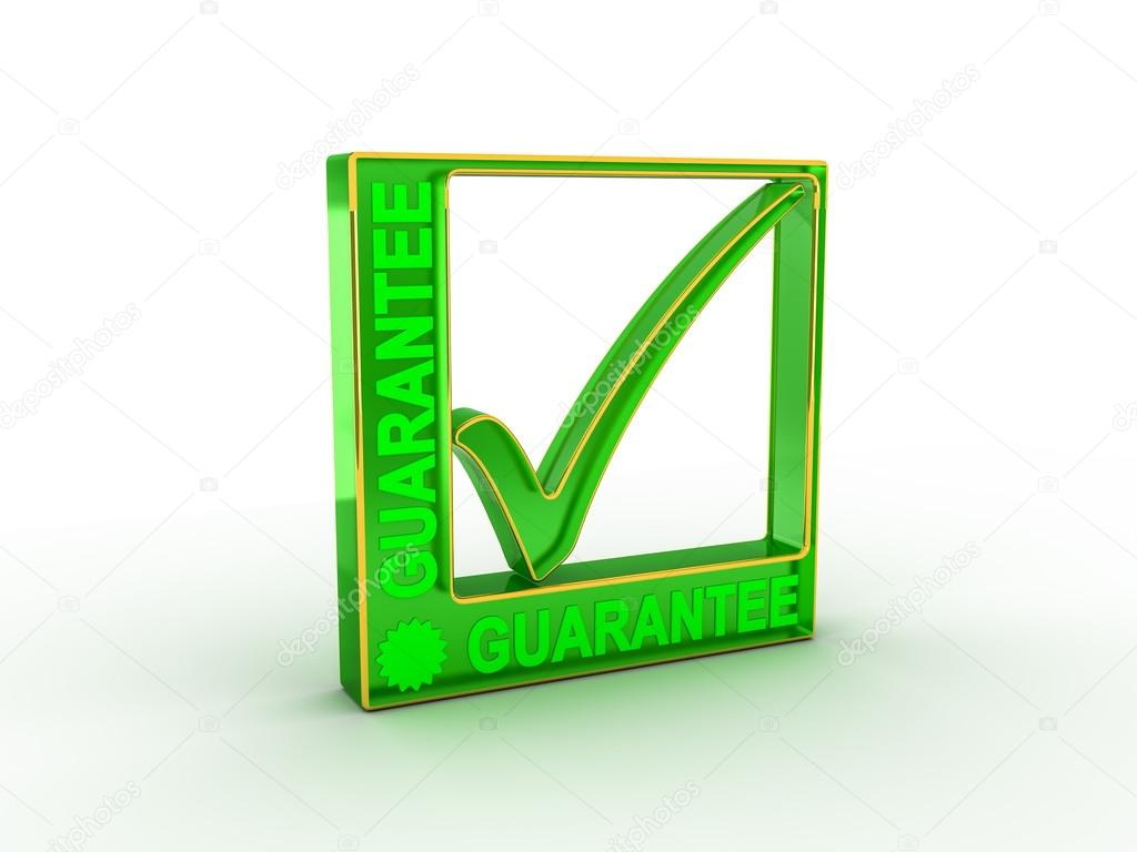 Check Mark Icon In Rectangle With Guarantee Word Stock Photo