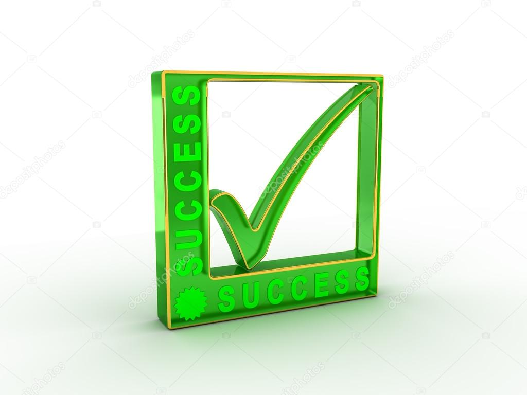 Check Mark Icon In Rectangle With Success Word Stock Photo