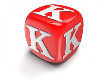 Dice with letter K (clipping path included)