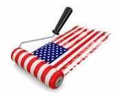 Photo Paint roller with USA flag (clipping path included)