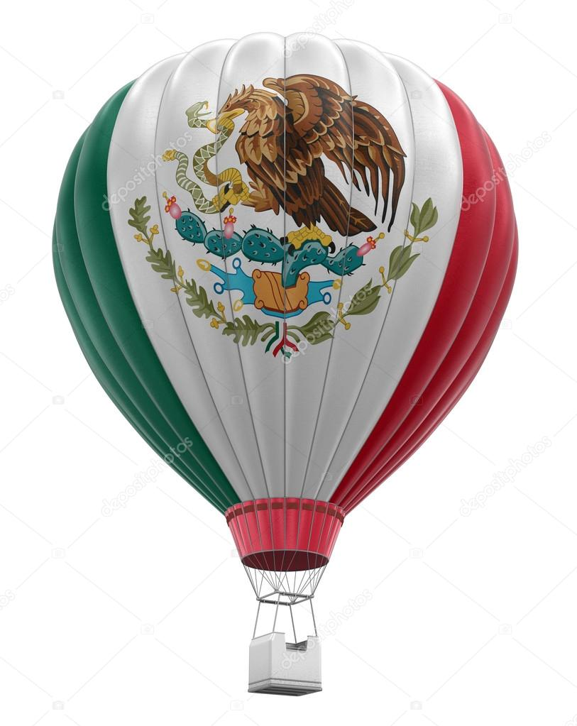 air balloon with mexican flag clipping path included u2014 stock