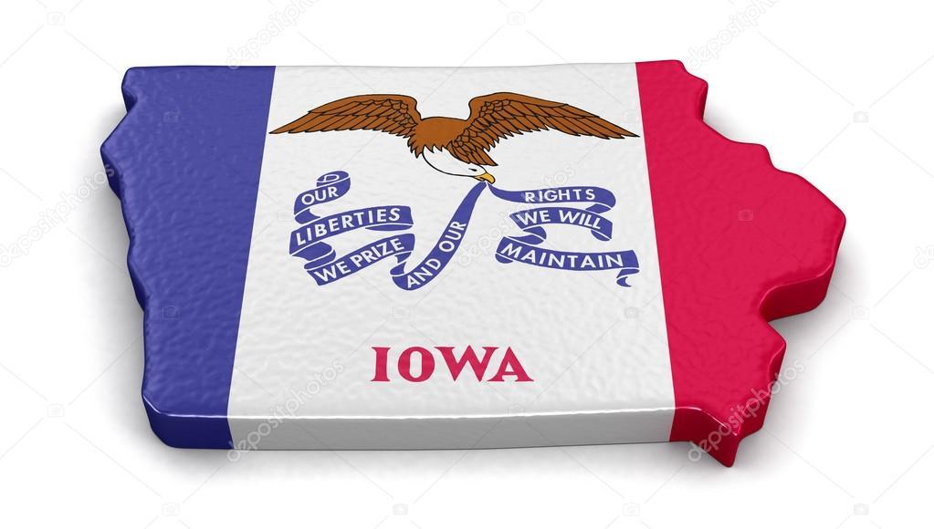Mapa del estado de Iowa con bandera — Foto de stock © panama555 ...