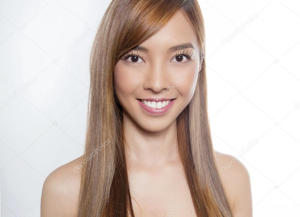 Young Beautiful Asian Woman With Long Hair Stock Photo C Anetta
