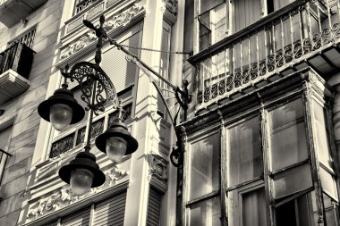 Facade with street light