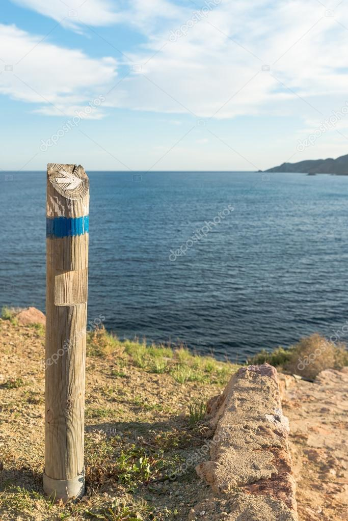 Wooden hiking guidepost