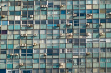 Windows with air conditioning units