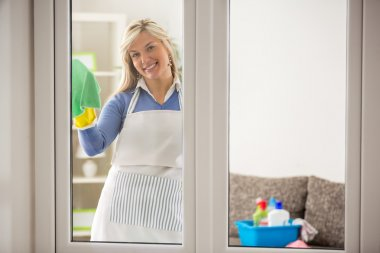 Housewife washing windows