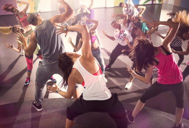 group of dancers at Zumba fitness training