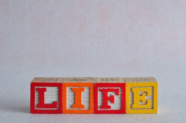 The word life spelled with colorful blocks isolated on a white b