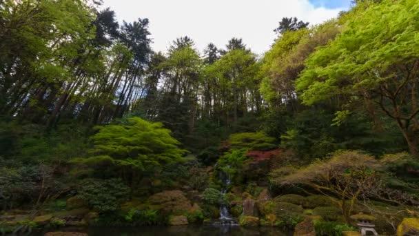 Časová prodleva mraků nad vodopád s svěží zelené krajiny v Portlandu japonské zahrady jarní sezóna 4k uhd