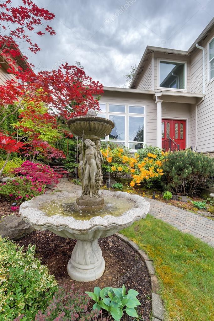 Water Fountain On Frontyard Of Home U2014 Stock Photo #108097354